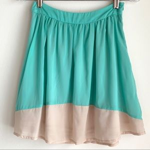 Mint Green and Cream Circle Skirt by Emmelee